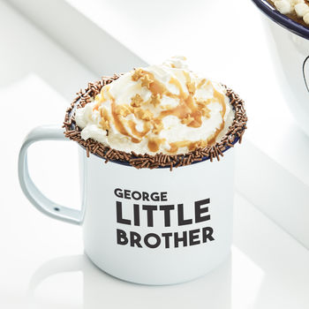 Personalised Little Brother Enamel Mug