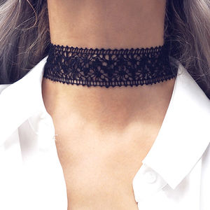 Millie Thick Crochet Lace Choker - necklaces & pendants