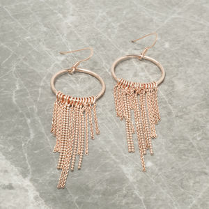 Circle And Tassel Chain Earrings - earrings