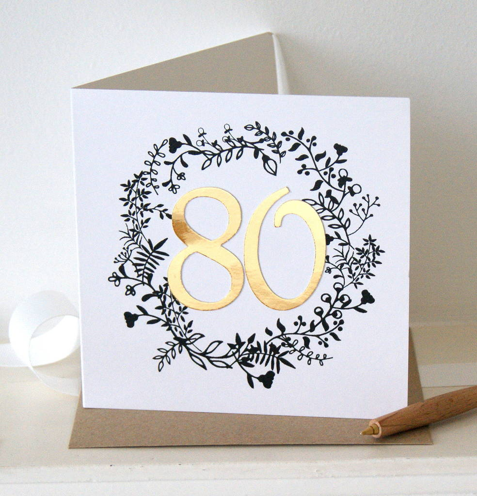 Luxe Gold 80th Birthday Card By The Hummingbird Card Company