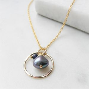 Sapphire And Pearl Rolled Gold Necklace - september birthstone