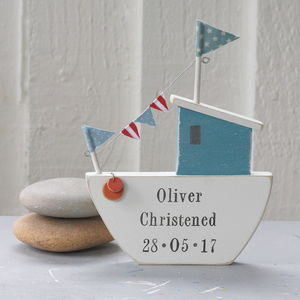 Personalised Standing Fishing Boat - gifts for babies