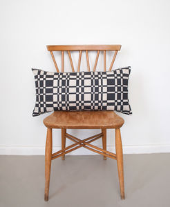 Screen Printed Geometric Grid Rectangular Cushion - bedroom