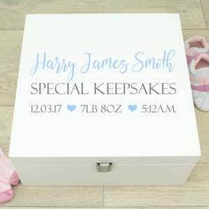 Large Typography White Wooden New Baby Memory Box