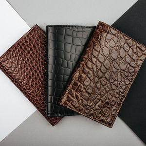 Mens Leather Long Jacket Wallet.'The Pianillo Croco'