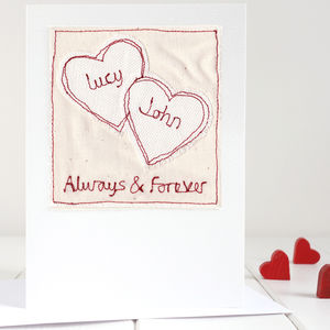 Personalised Embroidered Valentine's Card - wedding, engagement & anniversary cards