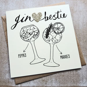 Personalised Gin Glasses Bestie Birthday Card - birthday cards