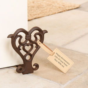 Scrolled Cast Iron Heart Door Stop - decorative accessories