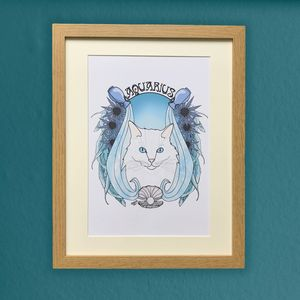 Aquarius Cat Star Sign Zodiac Print - posters & prints