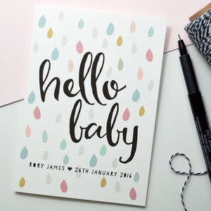 Personalised New Baby Card 'Hello Baby'