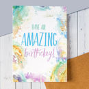 'Have An Amazing Birthday' Watercolour Bookish Birthday Card