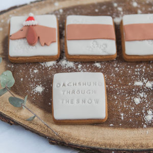 Christmas 'Daschund Through The Snow' Biscuits - gifts for her