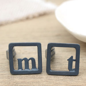 Initial Monogram Square Black Cufflinks