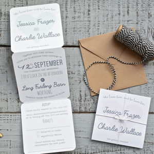 Heart Tri Fold Wedding Invitation On White