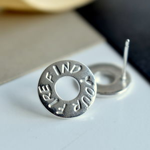 Personalised Mantra Silver Circle Earrings - earrings