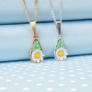 Daisy Tear Drop Pendant Necklace - necklaces & pendants