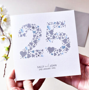 Personalised Love Hearts Silver 25th Anniversary Card