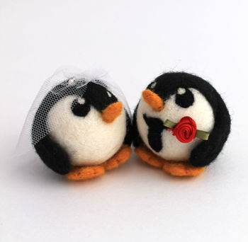 Penguin Wedding Cake Topper Bride And Groom Penguin