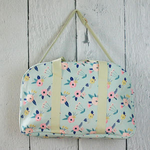 Pastel Floral Canvas Bag - holdalls & weekend bags