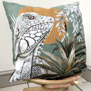 Illustrated Vegan Suede 'Bask Cushion' Sage Green