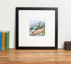 Bristol's Clifton Suspension Bridge Print - maps & locations