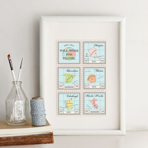 Personalised Destination Stamps Print