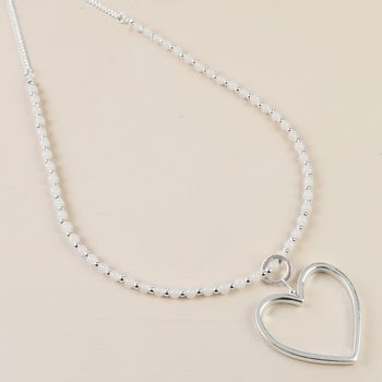 Rose Beaded Silver Heart Necklace