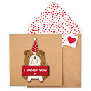 Handmade I Woof You Valentines Bulldog Card