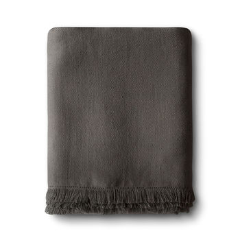 Charcoal Brown Fringe Linen Throw