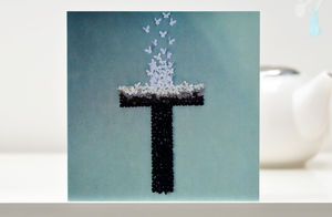 The Cross Butterfly Blank Card - christening cards
