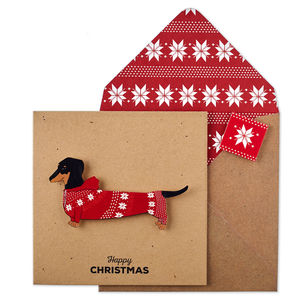 Personalised Christmas Jumper Dachshund Xmas Card - cards
