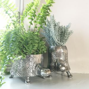 Antiqued Silver Tortoise Planter
