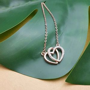 Rose Gold Cubic Zirconia Heart Necklace