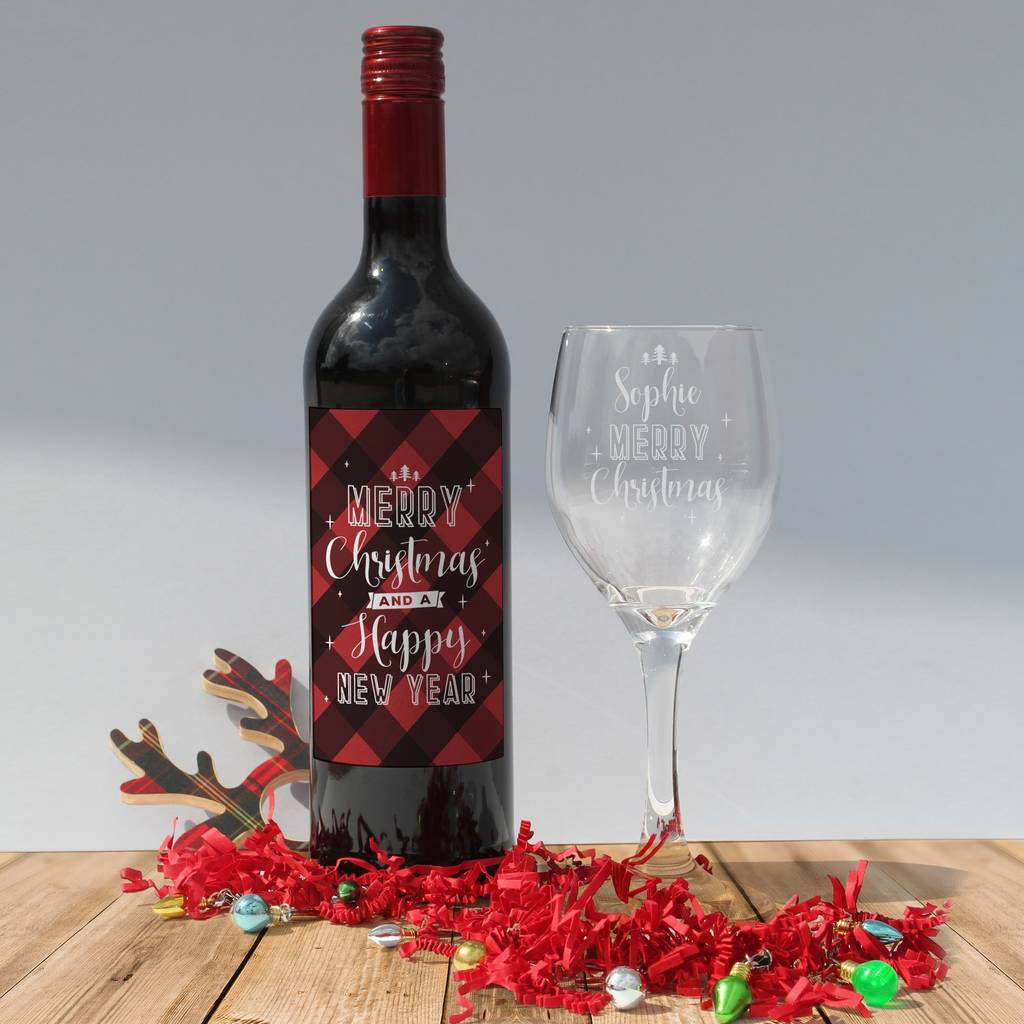 Christmas Personalised Red Wine Gift Sets In Box