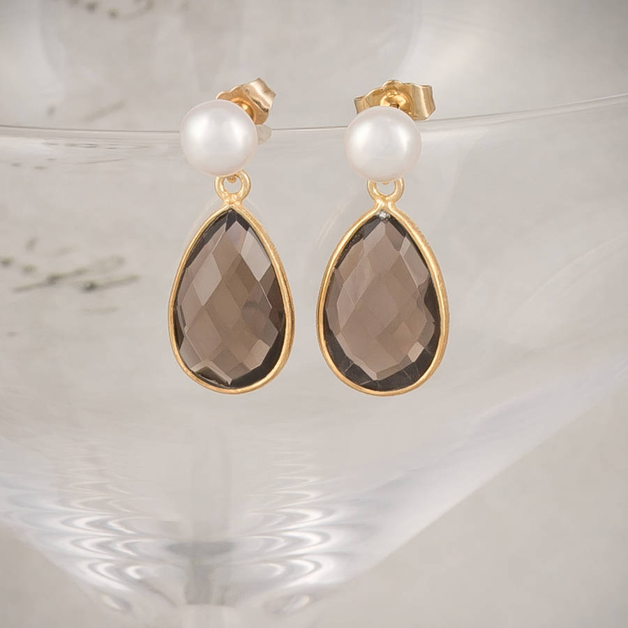 Freshwater Pearl And Gold Smoky Quartz Drop Earrings