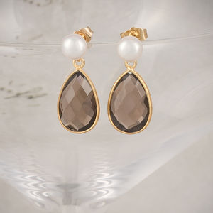 Freshwater Pearl And Gold Smoky Quartz Drop Earrings - earrings