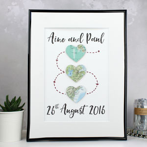 Personalised Three Heart Map Artwork