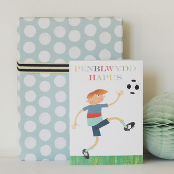 Welsh Football Penblwydd Hapus Greetings Card