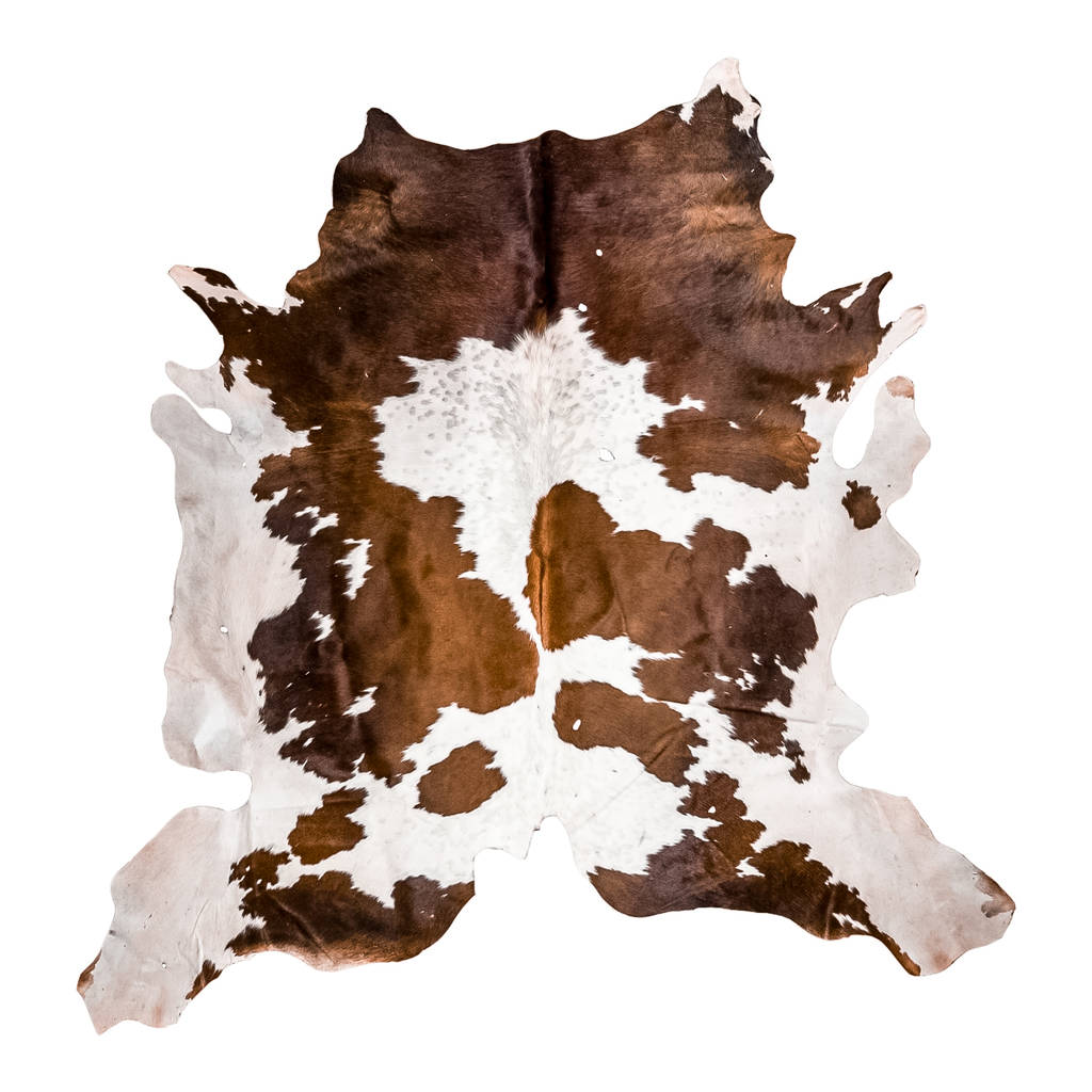 Brown And White Natural Cowhide Rug By Mahi Leather