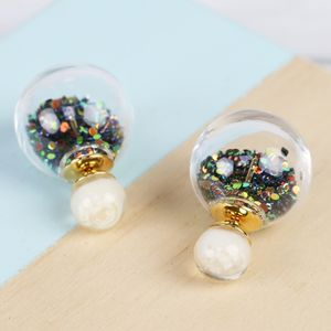 Petrol Bead Double Ball Earrings - earrings
