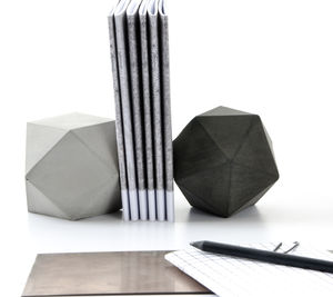 Set Of Two Geometric Concrete Sculptures, Paperweight - desk accessories
