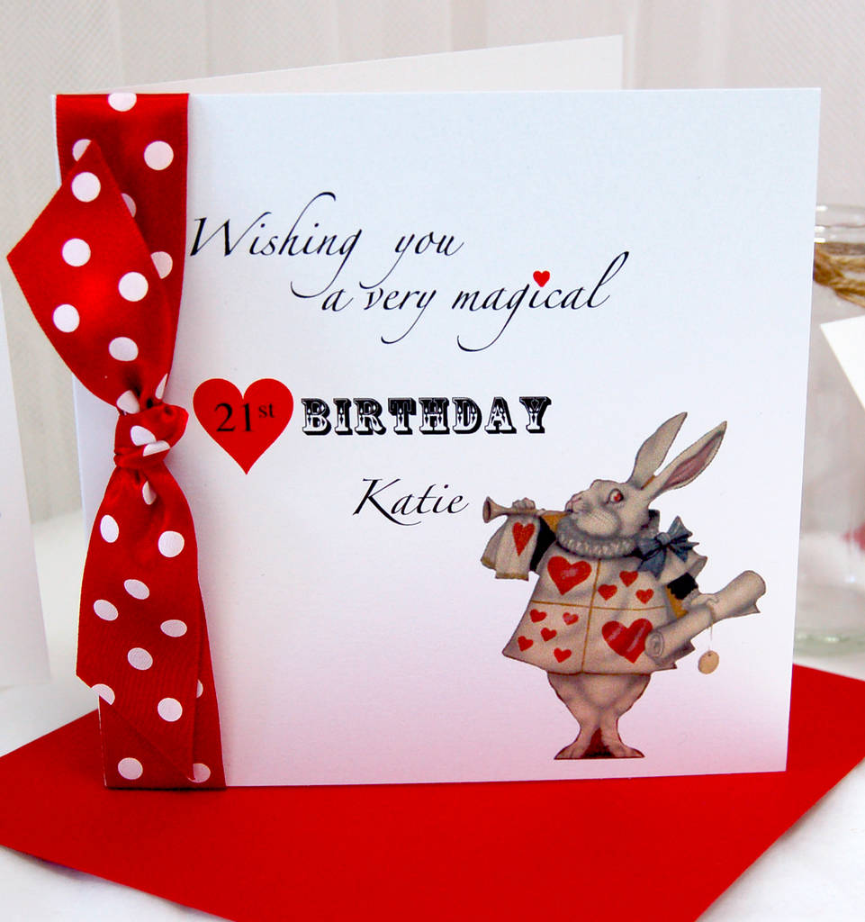 Personalised Age Birthday Card For Her With Alice In Wonderland Theme Personalized And Name