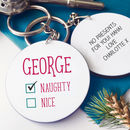 Christmas Naughty Or Nice Personalised Keyring