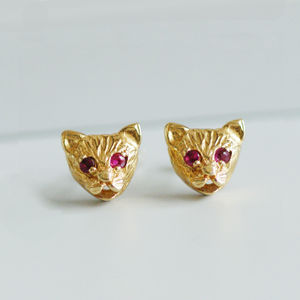 Gold Cat Stud Earrings With Ruby Eyes