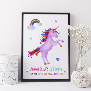 Unicorn Gift Girls Bedroom Print - children's accessories