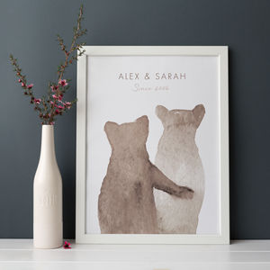 Personalised Bear Couple Print - engagement gifts