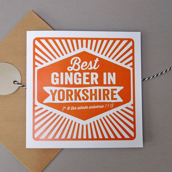 Personalised 'Best Ginger In' Retro Card