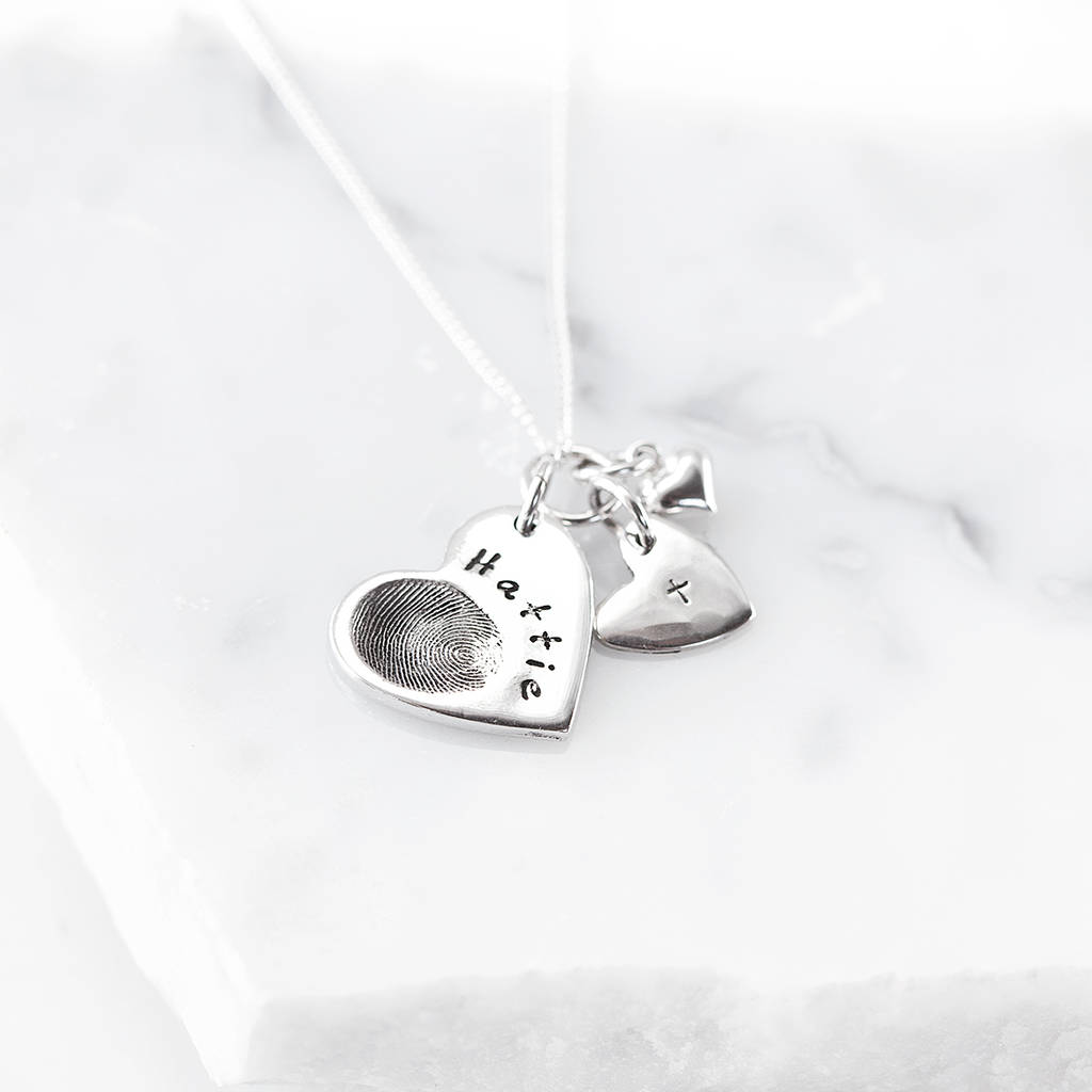 small necklace fingerprint oxidized silver heart fine