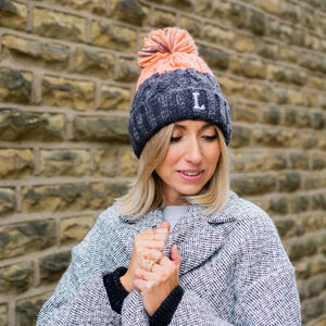 Ladies Personalised Initial Knitted Bobble Hat