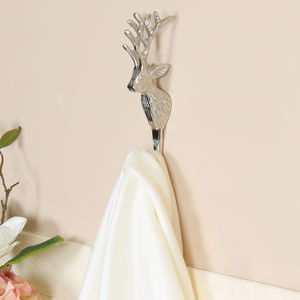 Nickel Stag Head Wall Hook - bathroom
